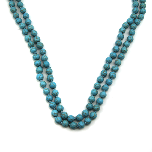 """Necklace 1782a 16 Crystal Avenue turquoise stone bead long necklace 48"""""""