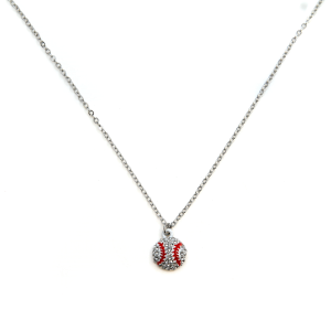 Necklace 749c 16 Crystal Avenue rhinestone baseball necklace silver red
