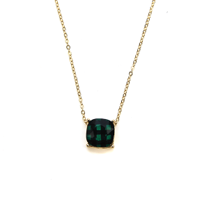 Necklace 584e 16 Crystal Avenue plaid checkered necklace green
