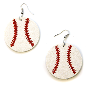 Earring 1968d 16 Crystal Avenue leather baseball earrings