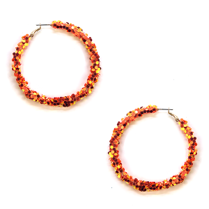Earring 075t 16 Crystal Avenue glitter hoop earrings orange