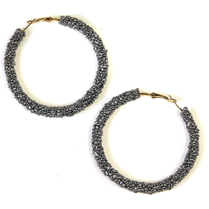 Earring 1485c 16 Crystal Avenue bead hoop earrings silver