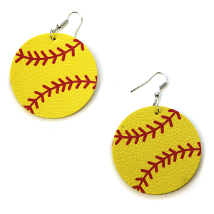 Earring 1972d 16 Crystal Avenue leather softball earrings