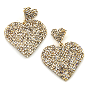 Earring 2458b 16 Crystal Avenue rhinestone stud dangle heart earrings