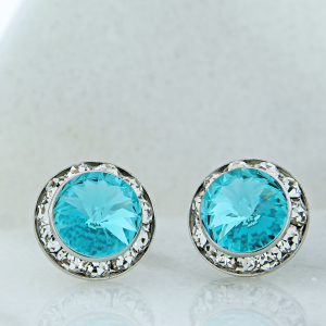crystal earring 140 16 Crystal Avenue round gem 15mm stud turquoise