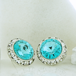 crystal earring 117 16 Crystal Avenue round gem 20mm stud turquoise