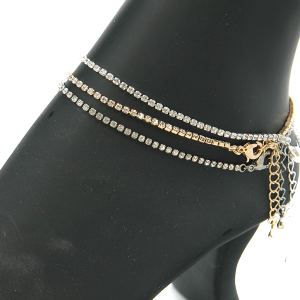 Anklet 023a 16 Crystal Avenue contemporary rhinestone anklet silver gold