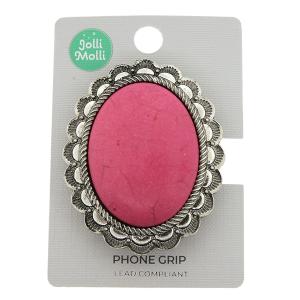 Phone Grip 048a 17 Jolli Molli oval stone pink