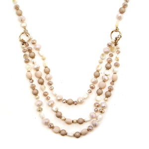 Necklace 339a 17 Venus pearl gem stone tri layer necklace ivory cream