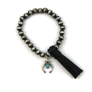 Bracelet 145c 17 Hippie stretch bead bracelet tassel charm black