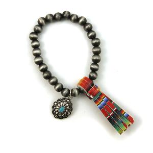 Bracelet 079d 17 Hippie stretch bead bracelet tassel charm multicolor