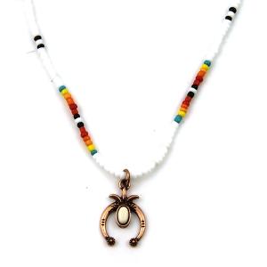 Necklace 1724 17 Jolli Molli bead navajo necklace copper white arc
