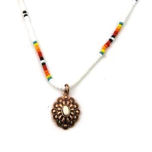 Necklace 1722a 17 Jolli Molli bead navajo necklace copper white concho