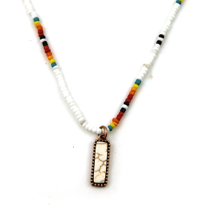 Necklace 1733a 17 Jolli Molli bead navajo necklace copper white rectangle bar
