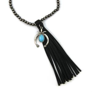 Necklace 709k 17 Hippie bead necklace tassel charm black
