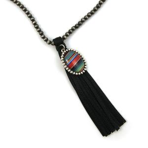 Necklace 143c 17 Hippie bead necklace tassel charm black