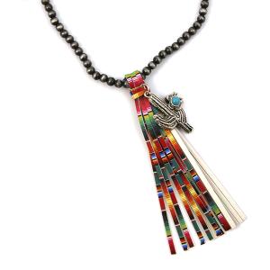 Necklace 514c 17 Hippie bead necklace tassel charm multicolor