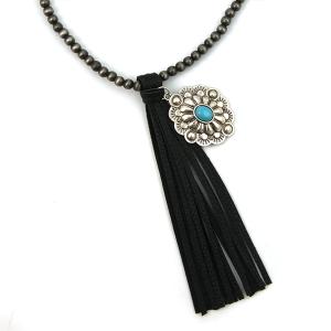 Necklace 877b 17 Hippie bead necklace tassel charm black