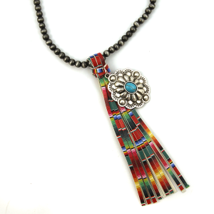 Necklace 906c 17 Hippie bead necklace tassel charm multicolor