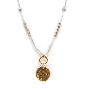 Necklace 1265d 17 Venus contemporary bead medalion necklace gray
