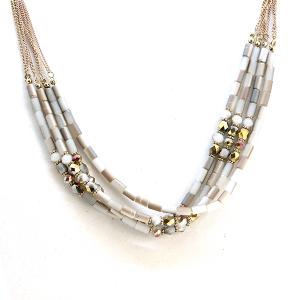 Necklace 1198c 17 Venus contemporary multi layer bead necklace gray