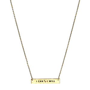 Necklace 374b 18 chain bar pink ribbon I can I will gold