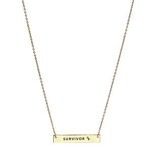 Necklace 058t 18 chain bar pink ribbon survivor gold