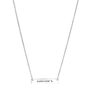 Necklace 098b 18 chain bar pink ribbon survivor silver