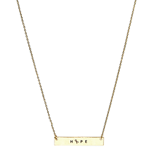 Necklace 119a 18 chain bar pink ribbon hope gold