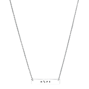 Necklace 256f 18 chain bar pink ribbon hope silver