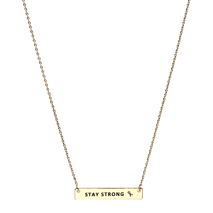 Necklace 245b 18 chain bar pink ribbon stay strong gold