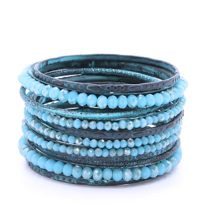 (Bracelet 453a 18 Treasure) Multi Bangle pack bead crystals patina turquoise