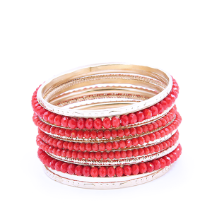 Bracelet 478a 18 Treasure Multi bangle bead gold red