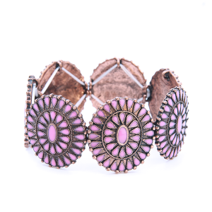 Bracelet 849 18 Treasure concho floral copper pink