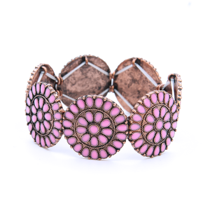 Bracelet 835 18 Treasure concho floral copper pink