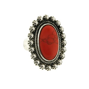 Ring 050a 18 Treasure oval floral concho stone coral red