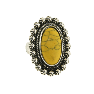 Ring 051a 18 Treasure oval floral concho stone mustard