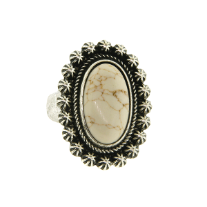 Ring 052a 18 Treasure oval floral concho stone natural