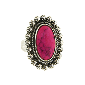 Ring 016a 18 Treasure oval floral concho stone pink