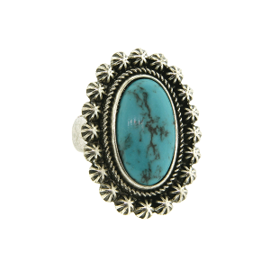 Ring 026a 18 Treasure oval floral concho stone turquoise