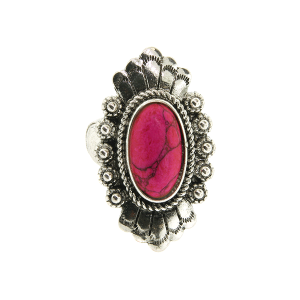 Ring 047a 18 Treasure oval concho stone pink