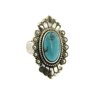 Ring 040a 18 Treasure oval concho stone turquoise