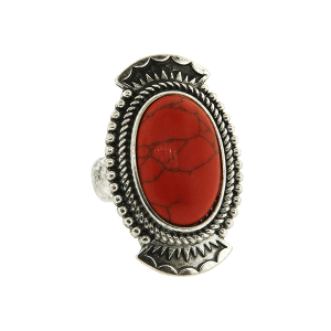 Ring 053a 18 Treasure oval concho stone coral red