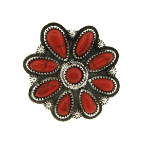 Ring 043a 18 Treasure floral concho stone coral red