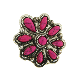 Ring 042a 18 Treasure floral concho stone pink