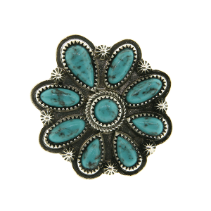 Ring 037a 18 Treasure floral concho stone turquoise