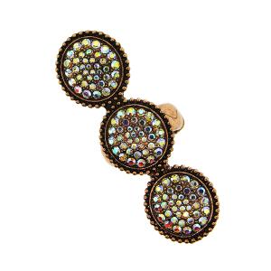 Ring 043b 18 Treasure concho rhinestone copper