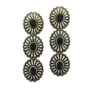 Earring 4223a 18 Treasure 3 tier starburst concho navajo stone black