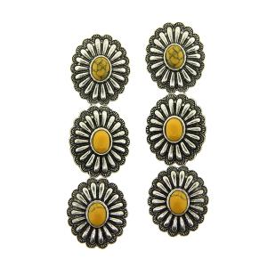 Earring 5371a 18 Treasure 3 tier starburst concho navajo stone mustard