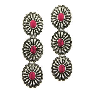 Earring 109h 18 Treasure 3 tier starburst concho navajo stone pink